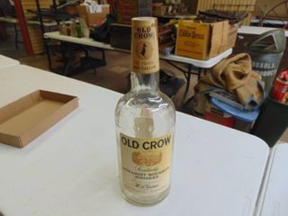 Old Crow Glass Whiskey Bottle