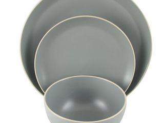 Gibson Home Rockaway 11 piece Dinnerware Set in Grey missing one bowl