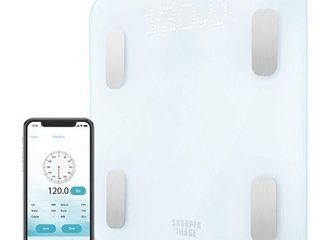SHARPER IMAGE Digital Bathroom Scale  Tracks Weight  Body Fat   BMI  Bluetooth Android   iOS App Compatible