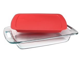 Pyrex Easy Grab Glass Baking Dish with Red lid  3 quart