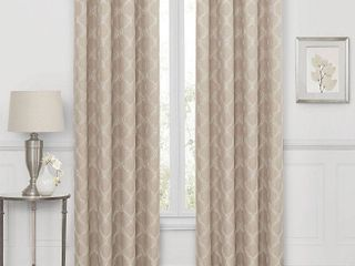 Embroidered Geometric Blackout Grommet Top Curtain Panel 50 x84  1 panel