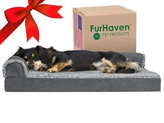 Furhaven Pet Dog Bed   Deluxe Orthopedic Two Tone Plush and Suede l Shaped Chaise lounge living Room Corner Couch Pet Bed with Removable Cover for Dogs and Cats  Stone Gray  Medium