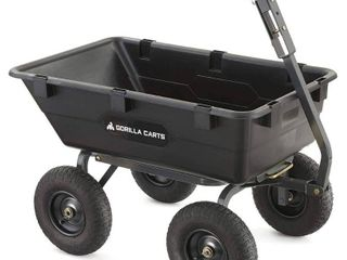 Gorilla Carts Heavy Duty Poly Yard Dump Cart with 2 In 1 Convertible Handle Capacity