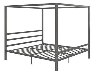 DHP Modern Canopy Bed with Built in Headboard   King Size  Gray
