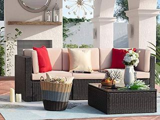 Homall PARTIAl Patio Outdoor Furniture Set  All Weather PE Rattan Wicker Sectional Sofa Modern AS IS