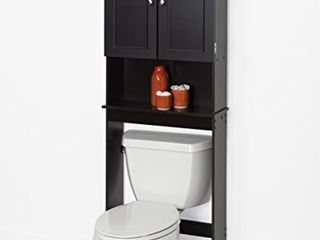Zenna Home Over The Toilet Bathroom Spacesaver  Bathroom Storage with Glass Windows  Espresso