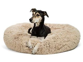 Best Friends by Sheri Calming Shag Vegan Fur Donut Cuddler  Self warming Removable and Washable Shell for Pets up to 100 lbs  Taupe  large 36x36