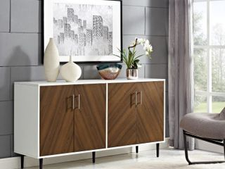 58  Modern Bookmatch Buffet TV Stand   White and Teak