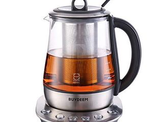 Buydeem K2423 Tea Maker  Durable 316 Stainless Steel   German Schott Glass Electric Kettle  Removable Infuser  Auto Keep Warm  BPA Free  1 2l