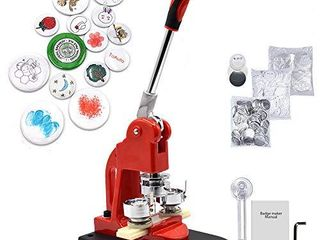 Red Button Maker Machine 58mm 2 28 inch Button Badge Maker Pins Punch Press Machine Aluminum Frame 300pcs Free Button Parts   Circle Cutter  58mm 2 28 inch
