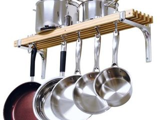 Cooks Standard Wall Mounted Wooden Pot Rack  36 by 8 Inch