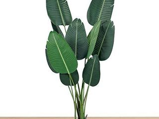 flybold Artificial Bird of Paradise Plant Fake Banana leaf Plant 5 feet Tall 10 Faux Green large Silk leaves with Durable Pot for Home Indoor Outdoor DAccor Modern House Office Floor Decoration