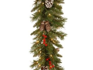 National Tree Company Company Pre lit Artificial Christmas Garland   Flocked with Mixed Decorations and White lights   Frosted Berry  9 ft