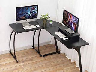 Computer Desk  DOSlEEPS l Shaped large Corner PC laptop Study Table Workstation Gaming Desk for Home and Office Wood   Metal   Black Wood Grain