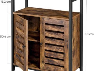 VASAGlE Standing Cabinet  Storage Cabinet  Accent Side Cabinet with Shelf  Cupboard with louvred Doors  Multifunctional in living Room  Bedroom  Hallway  Industrial Design  Rustic Brown lSC76BX