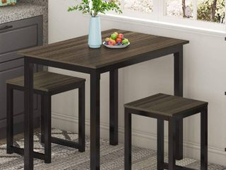 HOMURY Modern Studio Soho Dining Table with Two Benches 3 Piece Set Brown