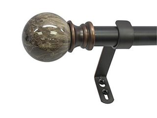 Decopolitan MARBlE BAll SINGlE CURTAIN ROD SET  72 to 144 Inches  Brown