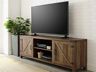 Walker Edison Furniture Company Modern Farmhouse Barn Wood Stand with Cabinet Doors TV s up to 80  living Room Storage Shelves Entertainment Center  70 Inch  Reclaimed Barnwood