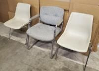 Upholstered Office Chairs  24  x 31  x 25  Qty 2  And Stackable Chairs  22  x 32  x 22  Qty 2