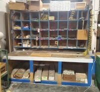 Custom Built Shop Table  With Cubby Cabinet  And Under Storage  99  x 7  x 50  Bidder Responsible For Proper Removal  Second Day loadout Only  Contents not Included