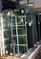 Double Pane Glass Panel Assortment  Various Sizes  25 Pieces Total  Rack Not Included  See Description For Sizes