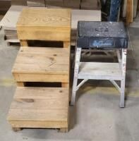 Wood 3 Step Stool  And louisville Aluminum Step Stool