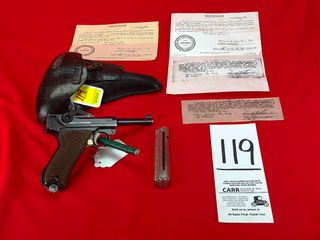 luger 1917 DWM  9mm w Rig   Bring Back Papers  SN 2647  Handgun