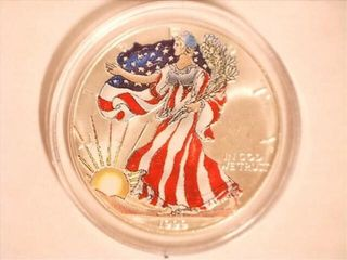 1990 Colorized Walking liberty 1oz Silver Dollar