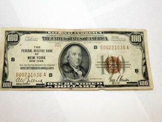 1929  100 National Currency Fed  Res  Of New York