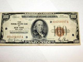 1920  100 National Currency Fed  Res  Of New York