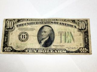 1934 A Series  10 Fed  Res  Note