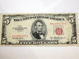 1953 A Series  5 US Note Red Seal