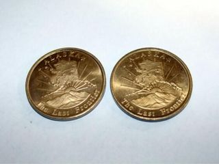 2   Alaska Brass Tokens  Wolf  The last Frontier