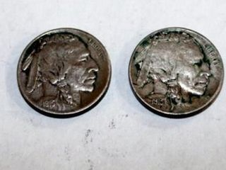 2   1913 D Buffalo Nickels