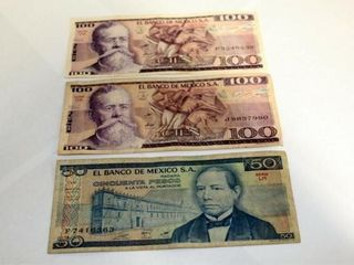 2   100 Pesos Bills  1   50 Pesos Bill