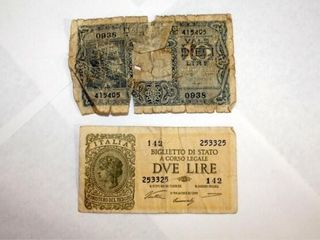 Italian Paper Currency   1944   2 lire   10 lire