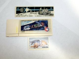 Stamps  2   8 cent US in Space  1   10 cent Apollo