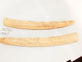 Decorative Ivory like carved Tusks