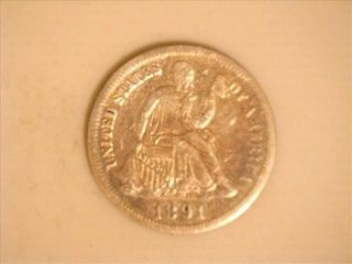 1891  900 Silver legend Obverse Seated Dime