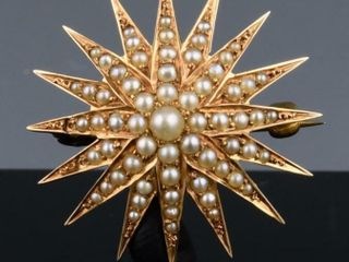 BIRKS 15K GOlD   PEARl STARBURST PIN BROOCH