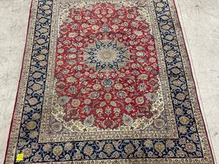 ESFAHAN HAND KNOTTED WOOl AREA CARPET  13  X 9 7