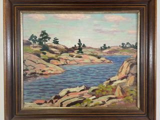 GEORGE THOMSON  ROCKY SHORES  PAINTING