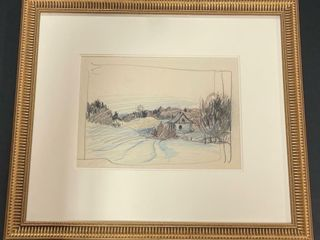 UNSIGNED WINTER SCENE SKETCH