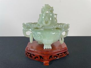 CHINESE JADE CENSER WITH STAND