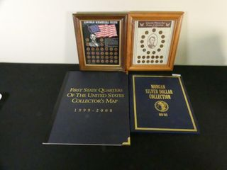 2 FRAMED lINCOlN COINS SETS   2 DISPlAY AlBUMS