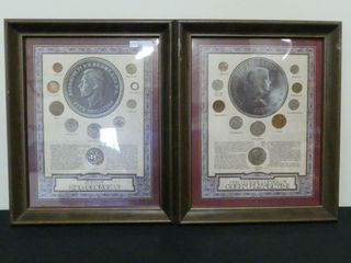 FRAMED GREAT BRITIAN GEORGE VI   ElIZABETH II COIN