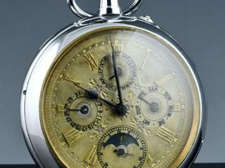 lARGE MOONPHASE DATE CHRONOMETER POCKET WATCH