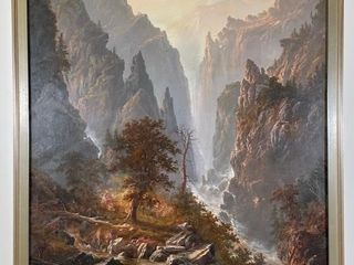 lARGE c1885 AlEXANDER F lOEMANS MOUNTAINS PAINTING