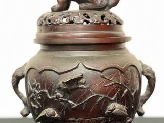 ANTIQUE JAPANESE BRONZE FOOTED CENSER W FU lION