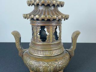 ASIAN lIDDED CENSER WITH MARKS ON BASE